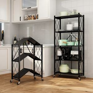 foldable multilevel metal storage shelves adjustable household storage rack
