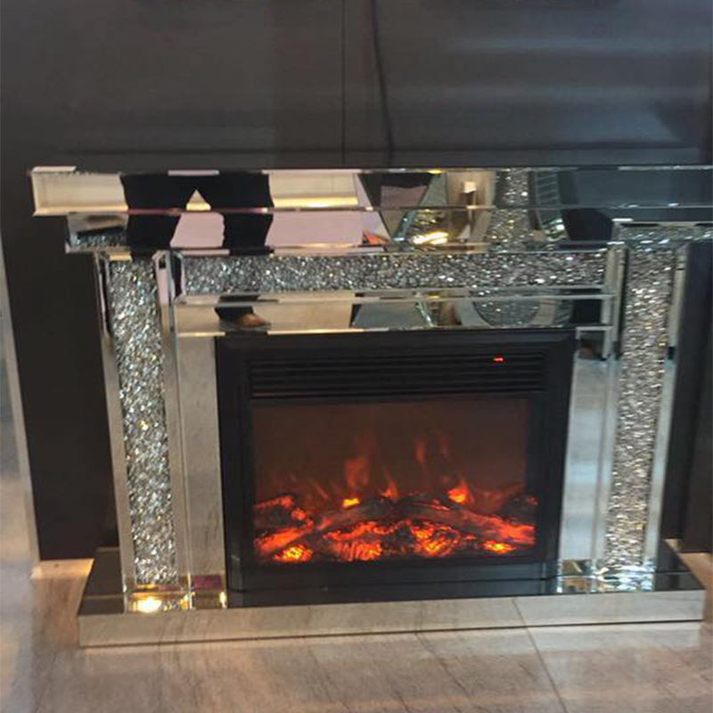 Modern Design and Hot Sales Mirrored Fireplace Sparkly crystal Diamond Crushed mirror furniture