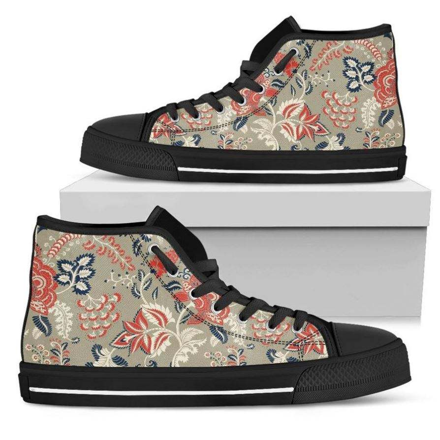 Lightweight Skateboard Shoes Beige Bohemian Floral Pattern Print Mens High Top Shoes Men Canvas Sneaker Shoes