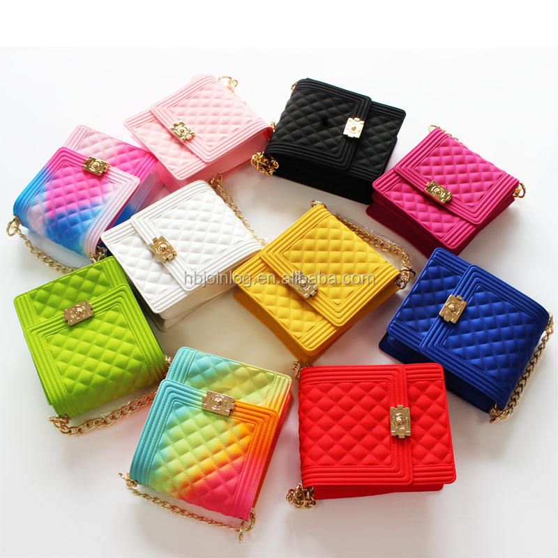 2020 summer colorful women rainbow jelly shoulder purses bags and handbags jelly candy bags vendors for ladies