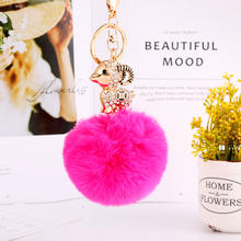 Promotional sale cute sheep zinc alloy keychain fur pom pom keyrings rainbow color bag charm