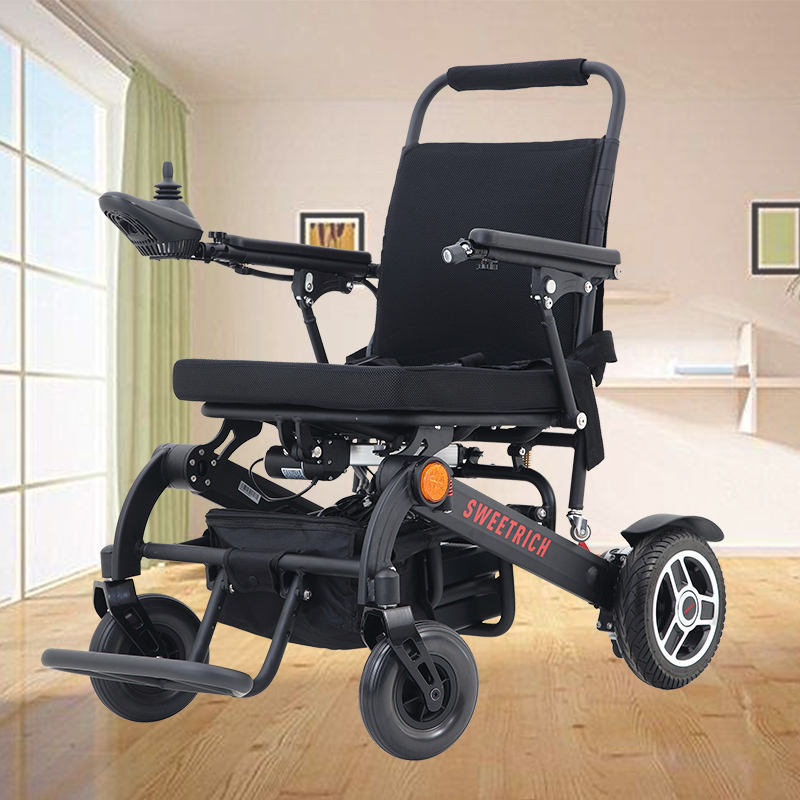 Hot selling foldable sport motorized power wheelchair lightweight travel outdoor electric wheel chair for disabled