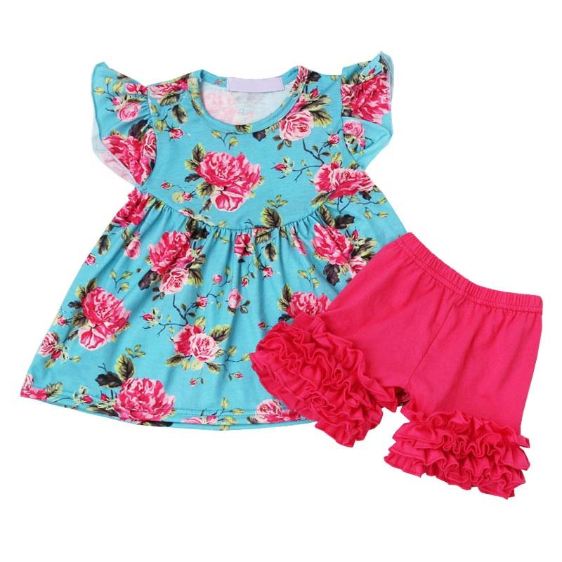 Children Boutique Prints Tunic With Cotton Shorts Matching Clothing Set Baby Girl Casual Summer Outfit