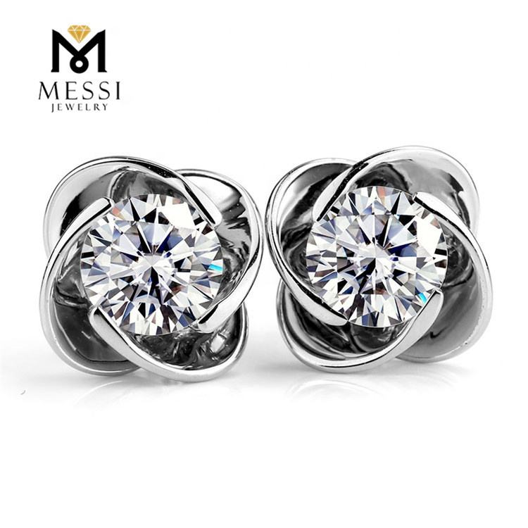 Messi Jewelry simple design flower earring 14k 18k white gold moissanite earring for daily wear jewelry gift
