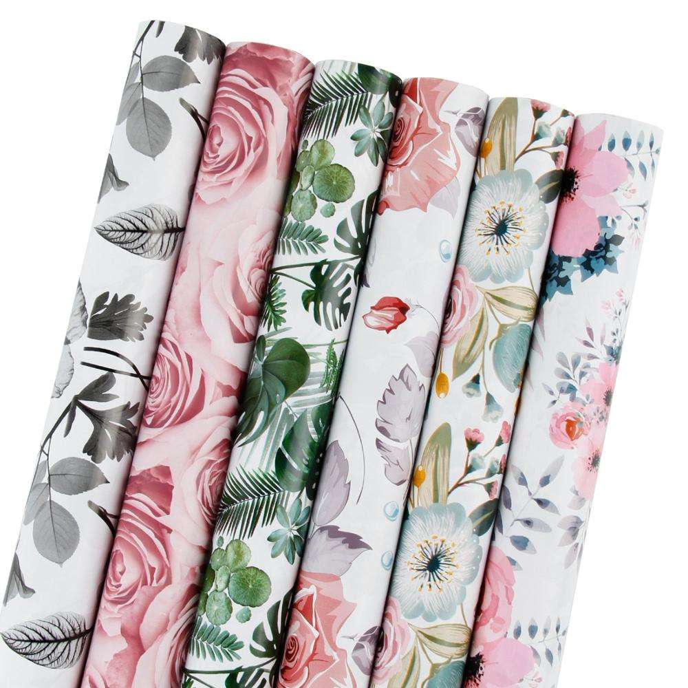 LaRibbons Gift Wrapping Paper Roll - Beautiful Floral Design for Birthday, Mother Day, Wedding, Holiday Gift Wrap