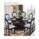 Classic Marble Dinning Table Set Marble Top Round Dining Table With 6 Backrest Chairs