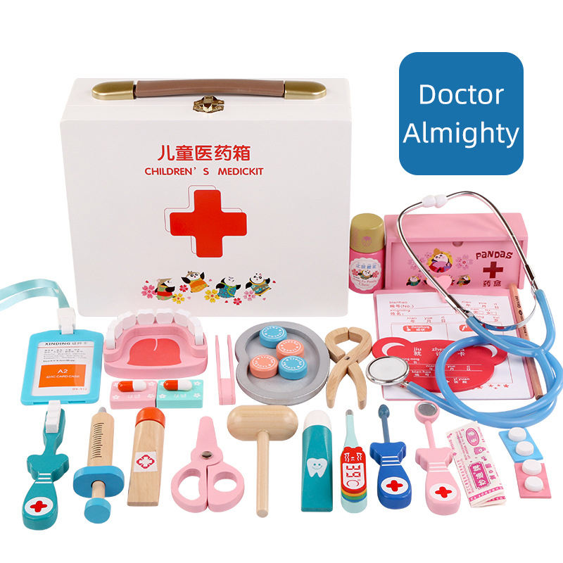 Children's doctor role playing injection tool simulation medicine boxdoctor toy play set medical Wooden doctor toy set