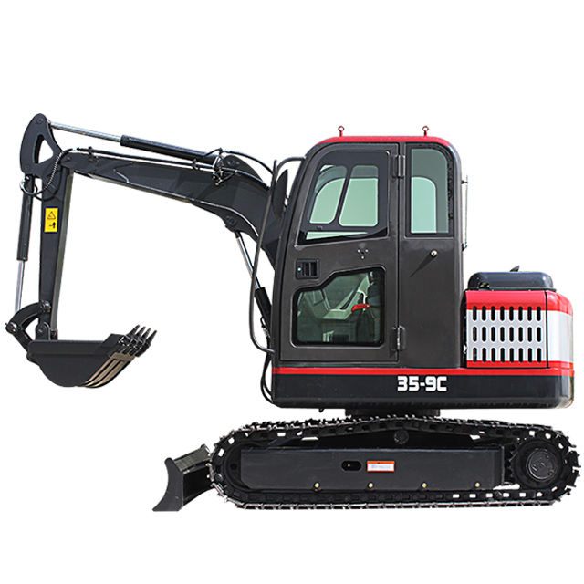 diesel mini excavator closed cabin bagger long boom with hydraulic hitch