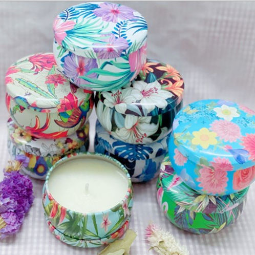 Amazon Hot Sell Magnolia candles mandala pattern chanukah votive Soy wax Scented Candles In Tin Box Gift Set Of 8pcs