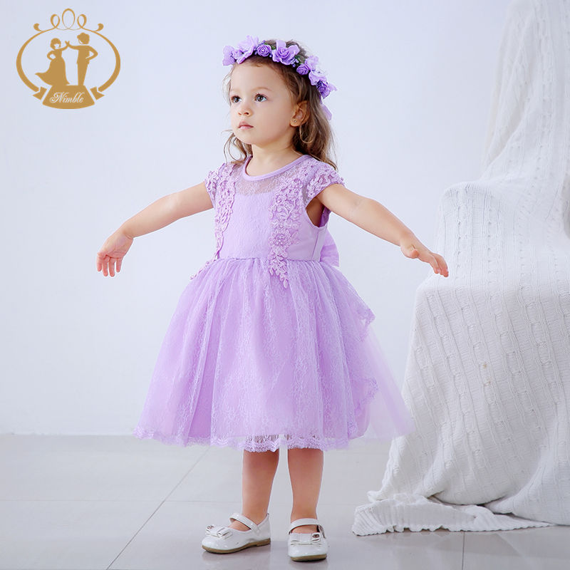 Nimble Summer Baby Girls First Birthday Princess Dress Lace Tulle Layer Dress Back With Big Bow Child Dress