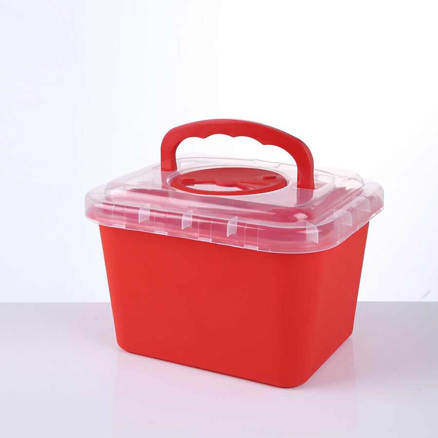 Disposable Containers FDA Approved 5l Square Biohazard Bins Medical Waste Disposable Syringe Box 1 Litre Plastic Sharps Container