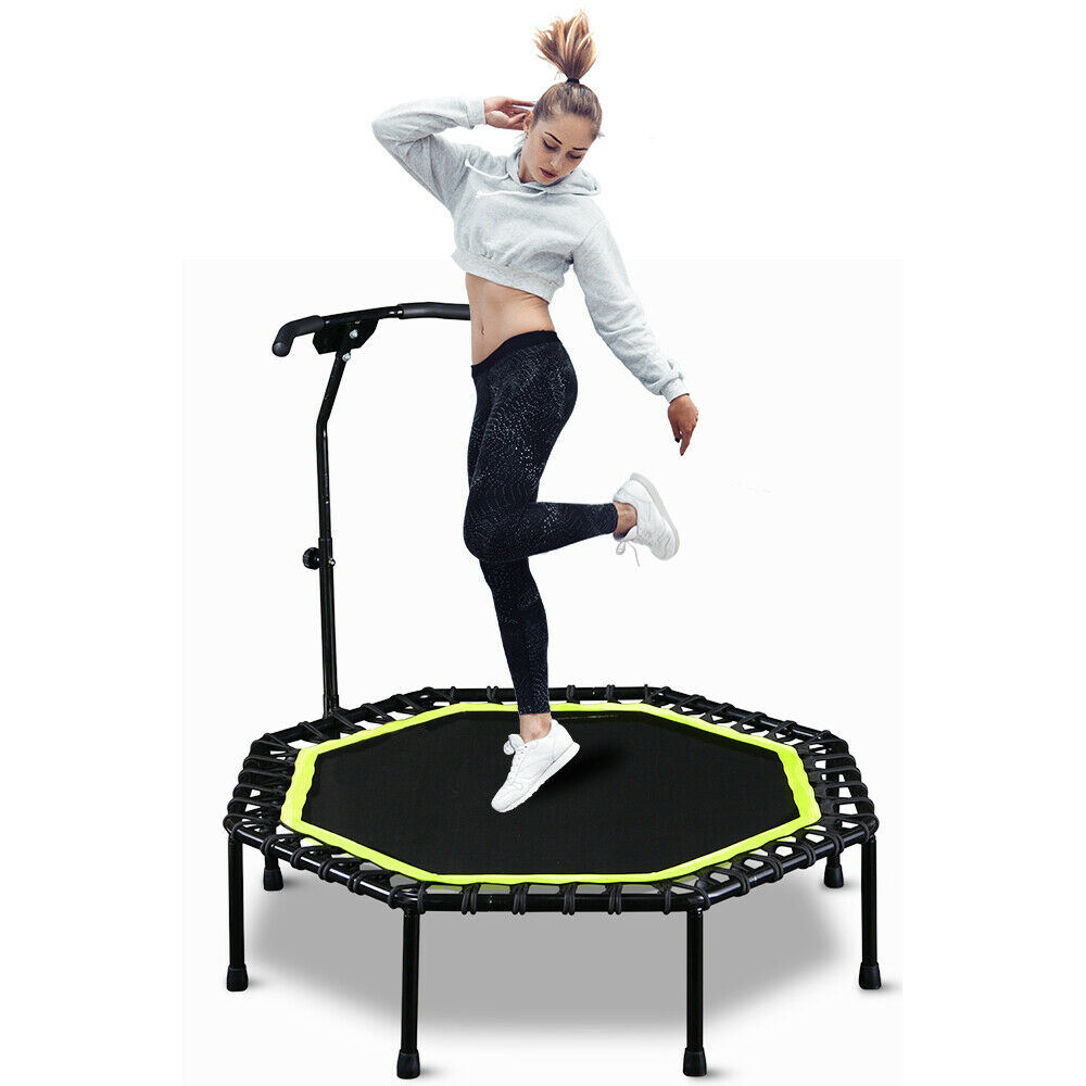 "48""Foldable Fitness Rebounder Trampoline With Adjustable Handle Bar Gym Exercise"