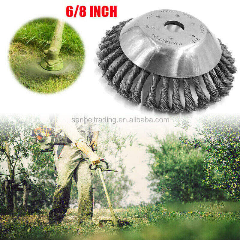 Lawn Mower Rotating Weed Brush Steel Wire Wheel Grout For Brushes Cutter 25MM 8'' Steel Wire Trimmer Head Grass Brush