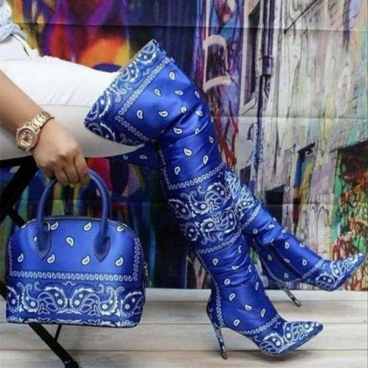 Wholesale New stylist bandana hand bags Lady Fashion Boots with Thin High Heel women boots