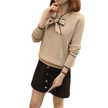 Office lady butterfly collar spring long sleeve knitted cashmere woman sweater