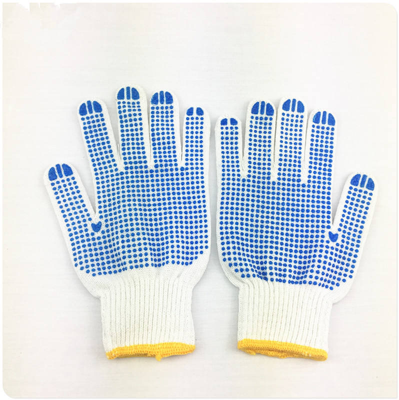 2018 hot sell product white/blue dotted knitted cotton material work safety gloves