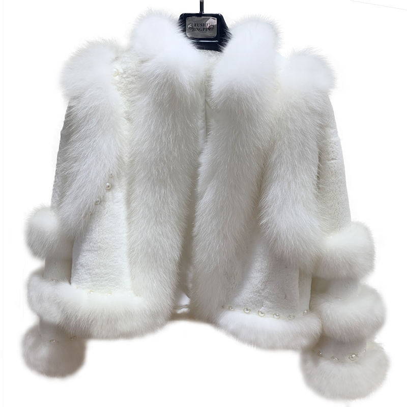 High Quality White Rabbit Fur Coat with Pearl Women Winter Short white Fox Fur Coat