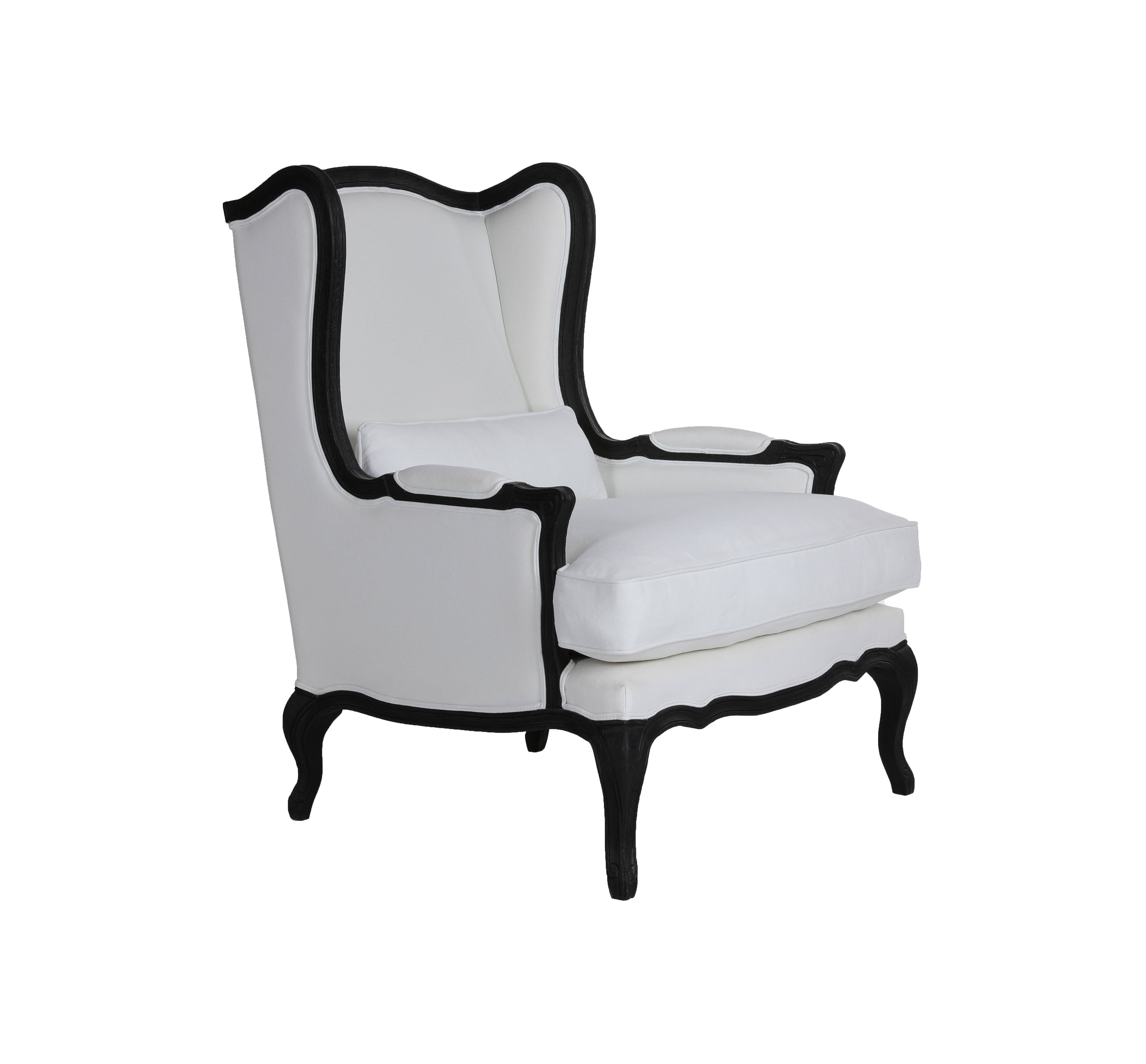 European Style Wooden Armchair High Back Wing Chair Upholsered Sofa