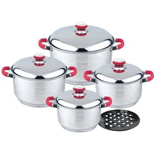 Kitchen tool spoon 9pcs metal casserole set stainless steel stock pot and pan set with color silicone handle