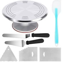 Amazon Hot Sell New Aluminium Alloy Revolving Cake Stand 12 Inch Cake Turntable set