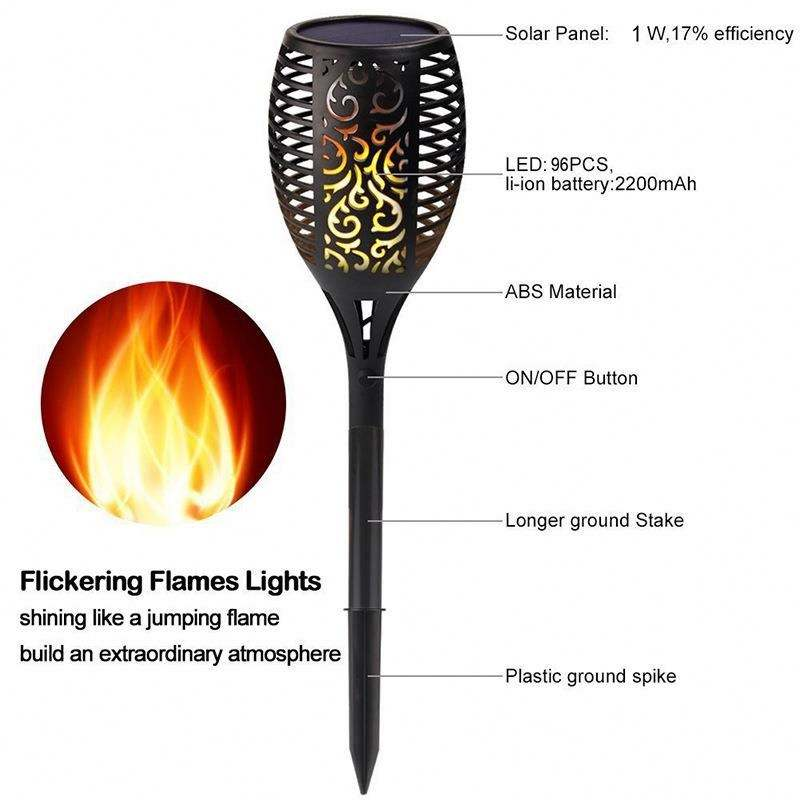 Waterproof Torches Dancing Flame Light 96 LED Flickering Torches garden decorations Lamp