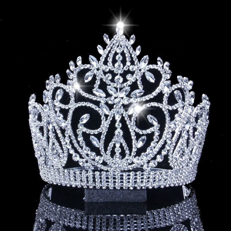 Bulk Princess Rhinestone Crystal Beauty Custom Big Pageant Queen Miss World Crown And Tiara