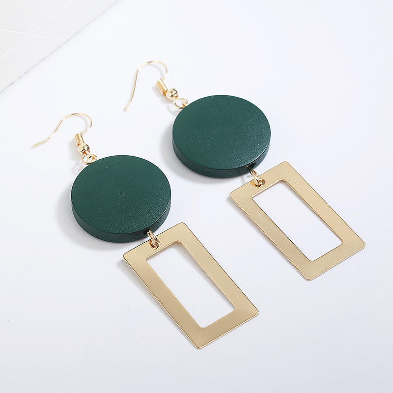 Korean fashion earrings round wooden metal long pendant earrings creole gold earring