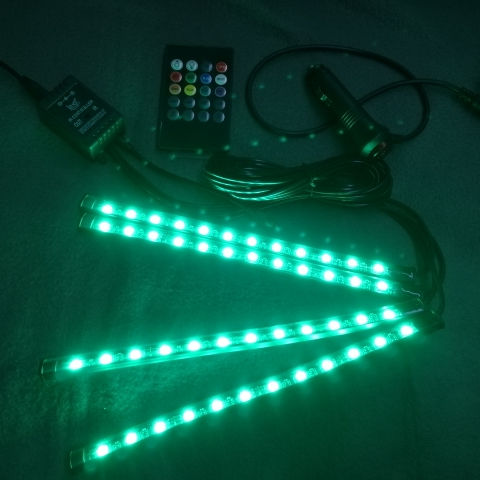 4pc Rgb Car Interior Mood Floor Ambient Decoration Neon Lights 2 In 1 Disco Accessories Led Lights For Car Interior