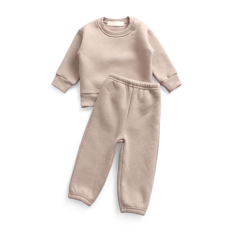 Boutique clothing baby outfit fleece Hoodies fabric 2 piece sets Sportswear winter tracksuit