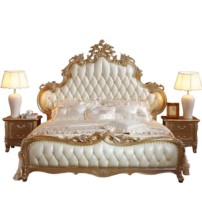 Antique Luxury Upholstered Leather Bed French Style Rococo Wooden Bedroom Furniture Italian Design Bed