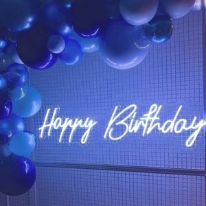 Happy Birthday Neon Sign China Manufacturer Custom Bar Acrylic Led Letters Light Neon Sign Wedding Birthday Party Decoration