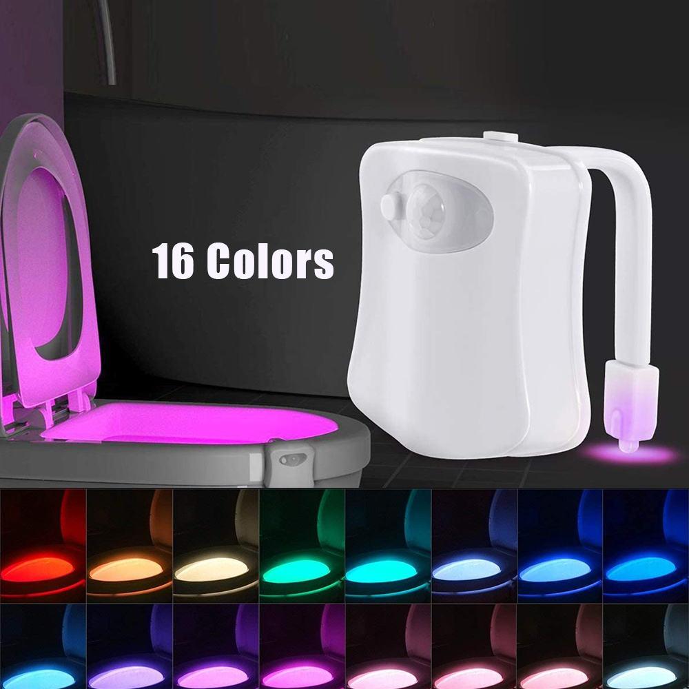 16 Color Toilet Night Light, Motion Sensor Waterproof LED Toilet Bowl Light for Bathroom Washroom