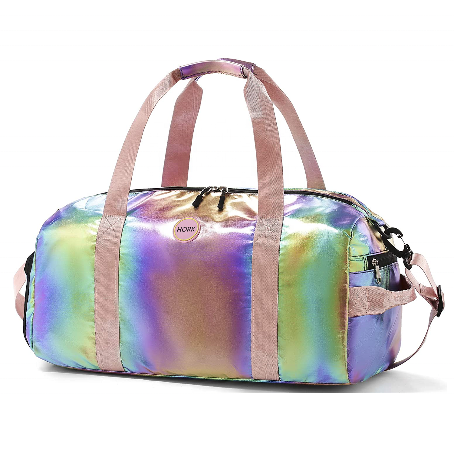 Custom Overnight Holographic Gym Duffel Bag Foldable Weekender Travel Duffle Bag Water-proof Luggage Sport Bag for Kids Girls