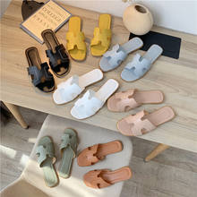 Popular Women leather outdoor Slippers Korea style Solid Cheap Flat Slides sandals for female
