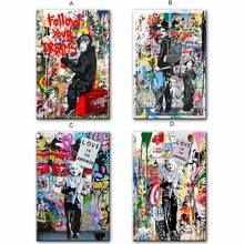 Follow Your Dreams Street Wall graffiti Art Canvas Paintings Abstract Einstein Pop Art Canvas Prints For Kids Room Cuadros Decor