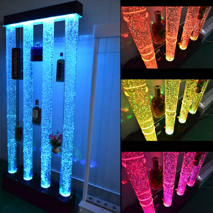 Remote control 16 RGB LED color changing waterproof acrylic glow bar furniture illuminated wine display cabinet