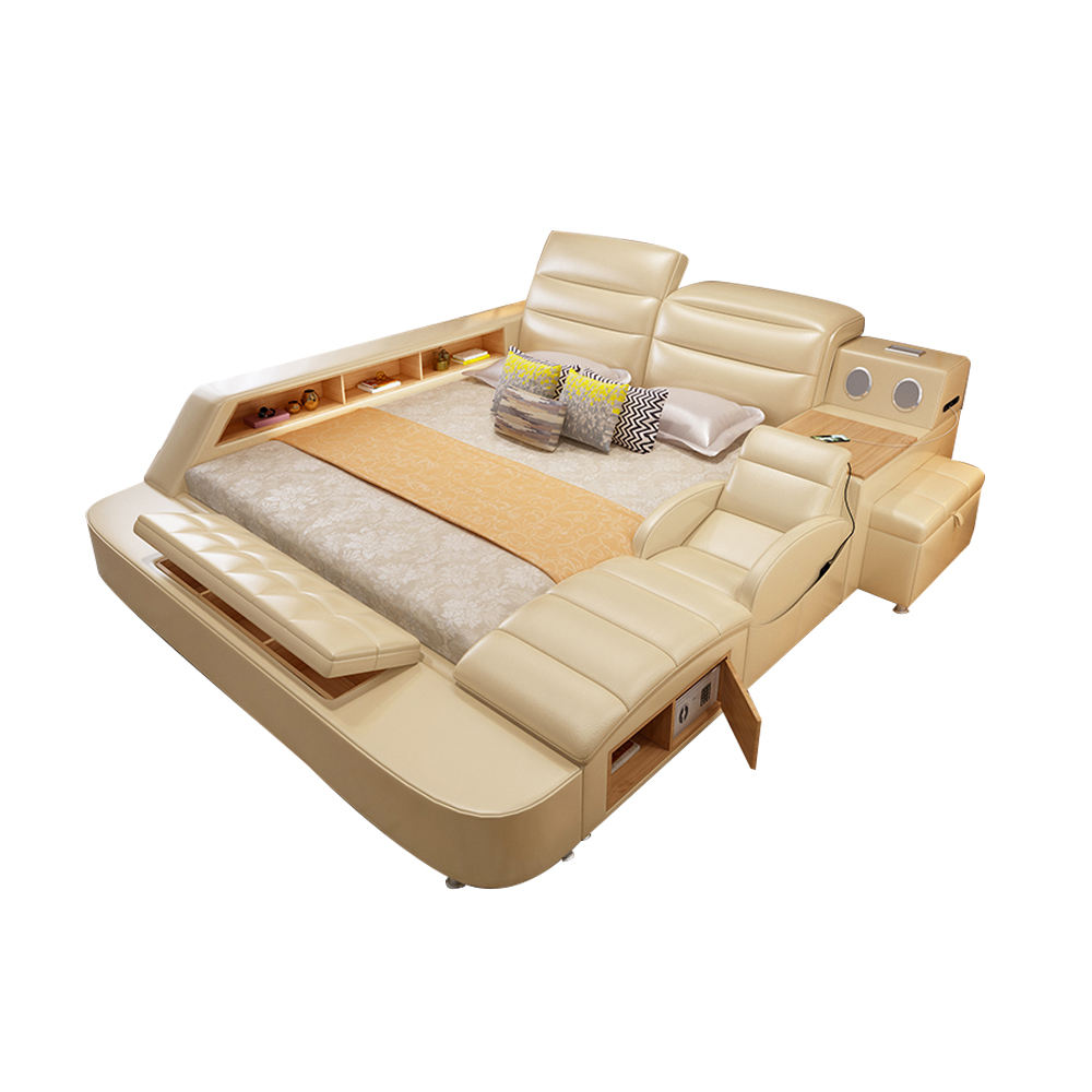 Smart Message Modern Tatami Leather Bed Multifunctional Storage Bed Latest Double Bed Designs
