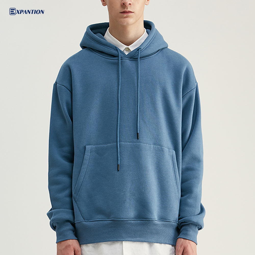 EXP Factory OEM heavy cotton polyester streetwear Sweatshirt custom logo oversized Street thick plain pullover hoodie for men