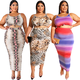 2020 sexy sleeveless crop top and bodycon skirt two piece set women's plus size clothing
