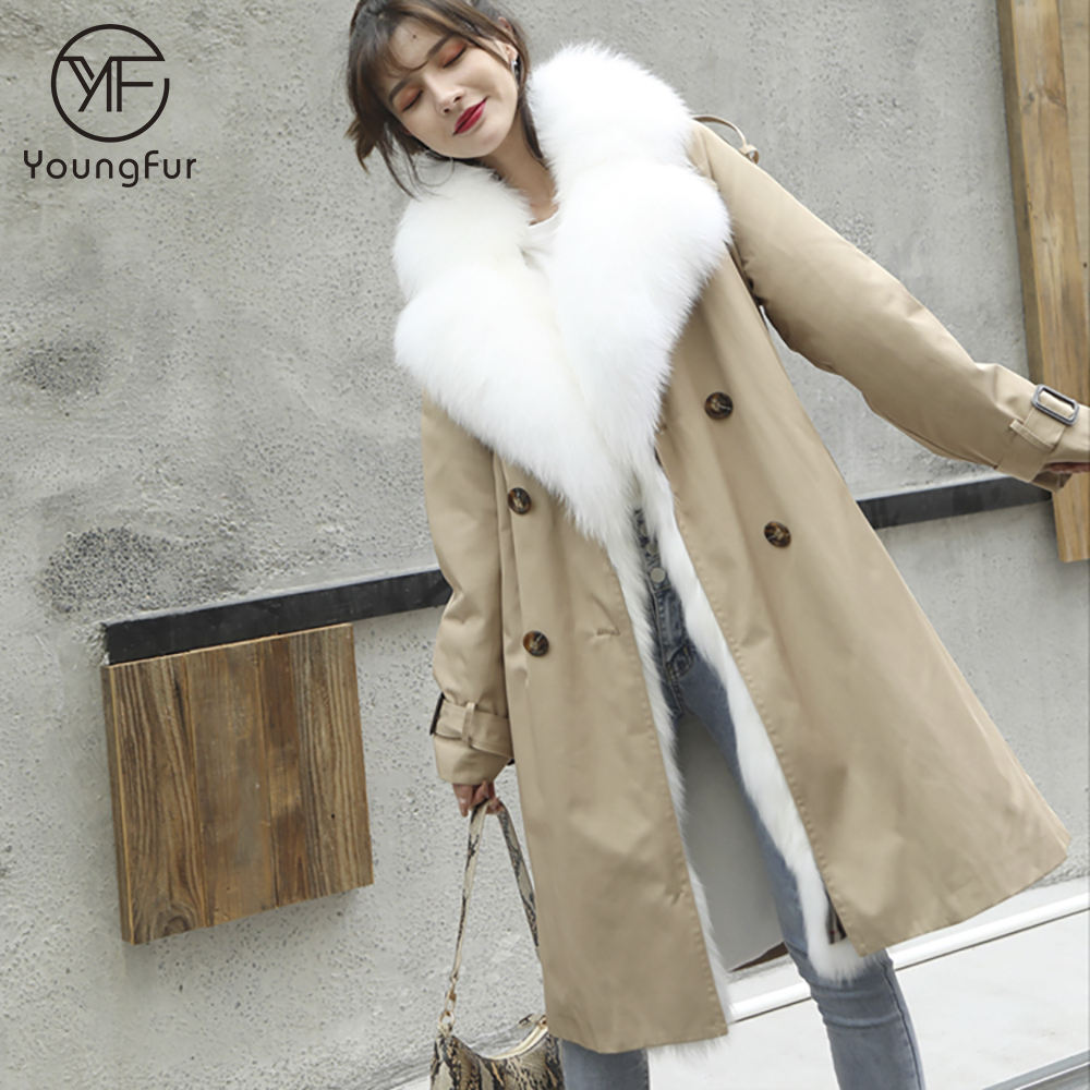 Hot Thick Fox Fur Lining Real Fur Parka Fashion Long Jacket Causal Winter Warm Coat Famous Outerwear