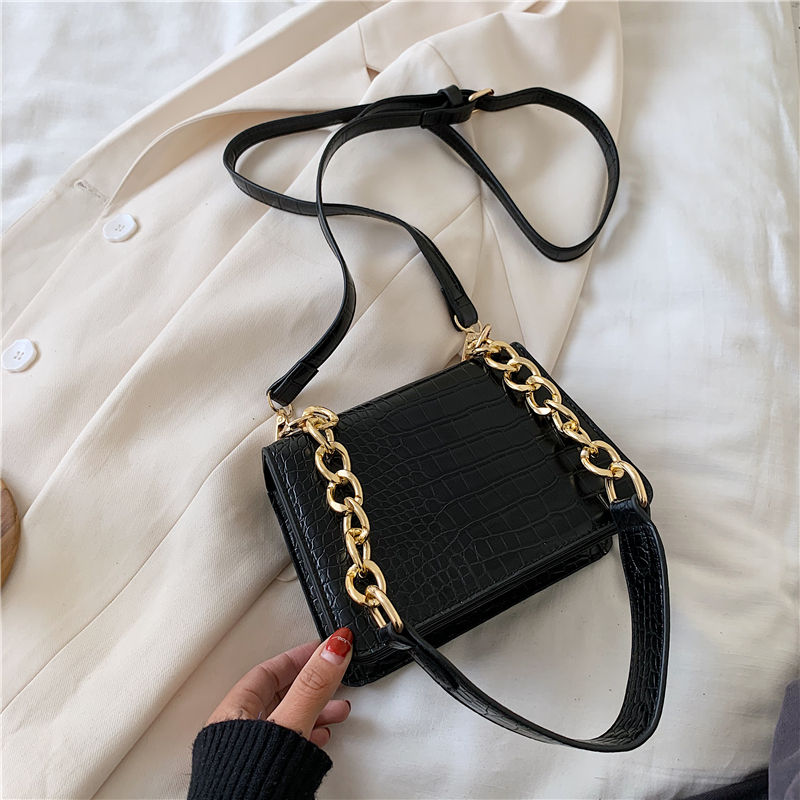 2020 new fashion small square crocodile handbags for women stone pattern chain shoulder tote ladies purses bags women handbags