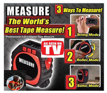 Precise Measure 3-in-1 Digital Tape Measure String Mode Sonic Mode Roller Mode Universal Measuring Tool