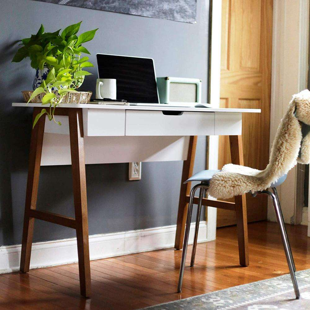 2019 Latest New Hot Selling Modern Simple Design White Solid Wood Home Office Writing Desk With Drawer