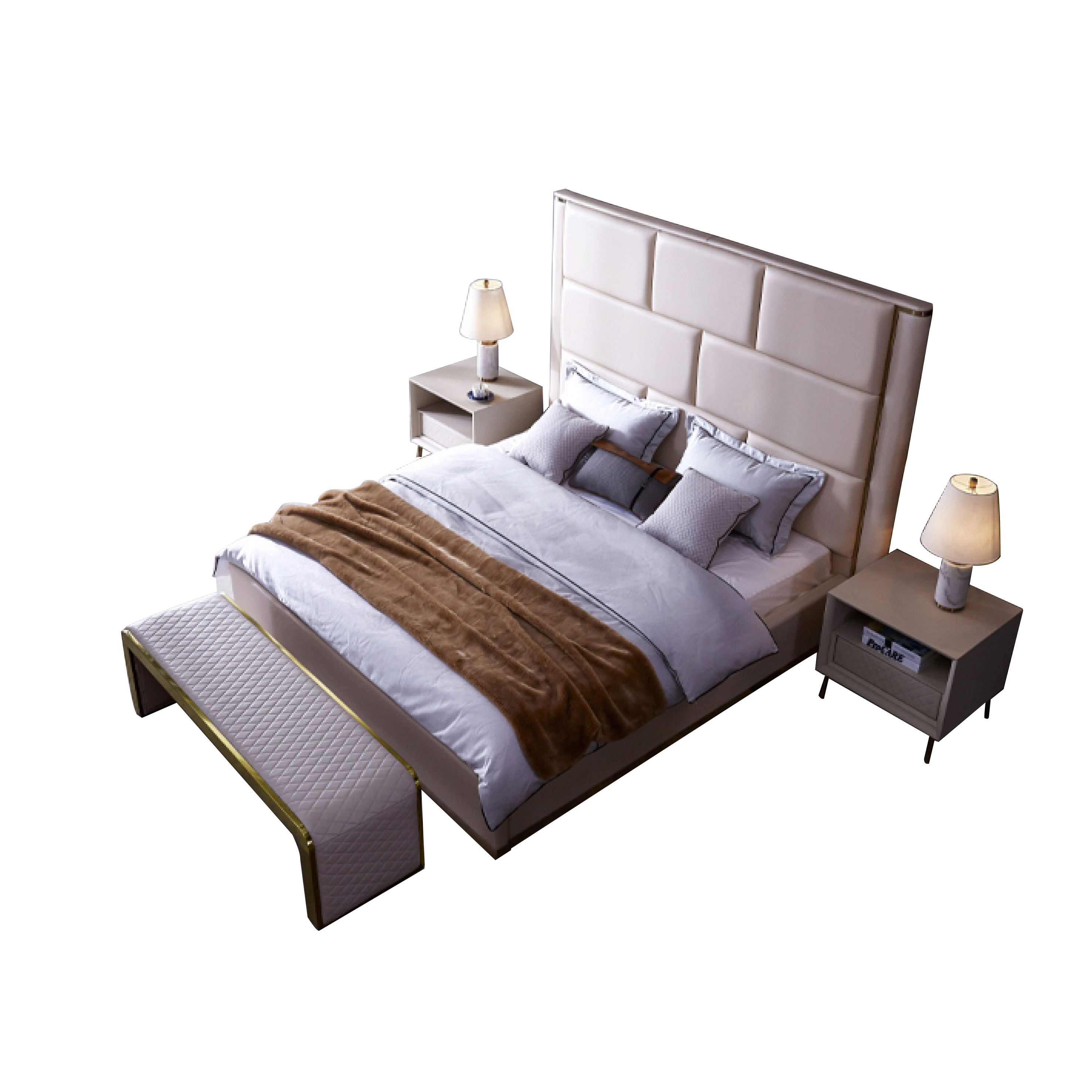 ProCARE pine solid wood frame double bed light luxury style romantic platform beds