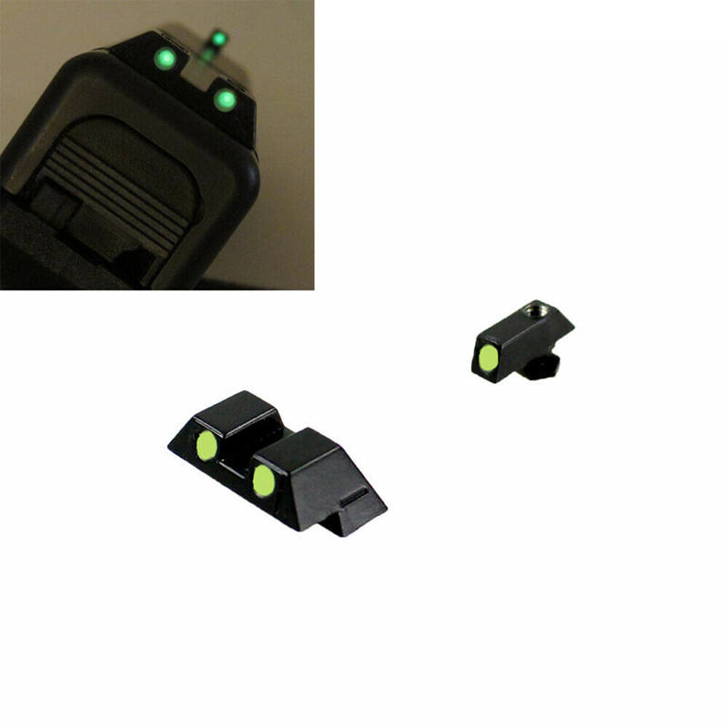 Tactical green dot Fiber Optic Front Rear Sights Pistol Glock 17 19 23 Night Sight scope Hunting accessories parts