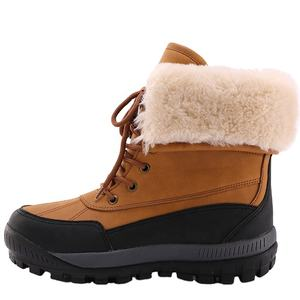good quality pu mid height waterproof fur snow boots