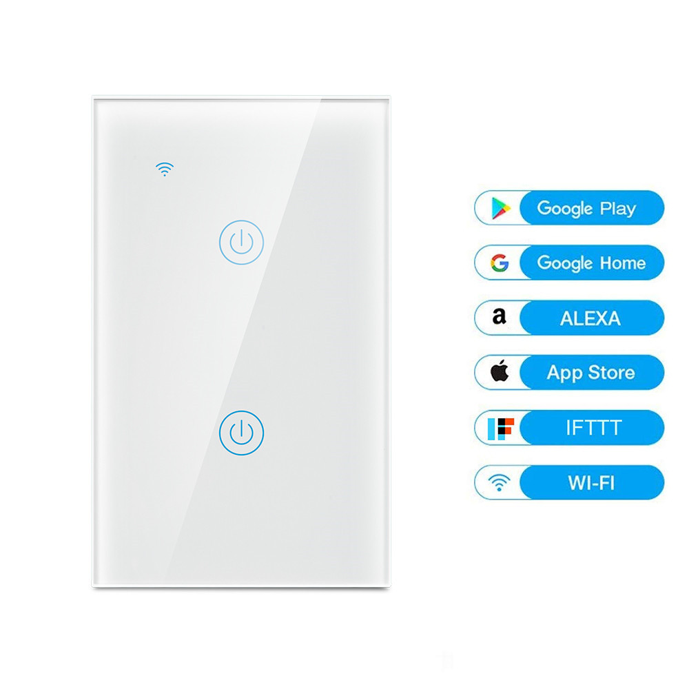 Alexa Home Wifi controlled Tuya Smart Touch Light Switch 2 Gang Smart WiFi Switch