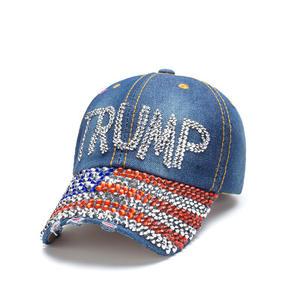 D1983 Women Men Campaign Sports Cowboy Caps USA Trump 2020 Hats Denim Crystal Embroidery Donald Trump Baseball Cap