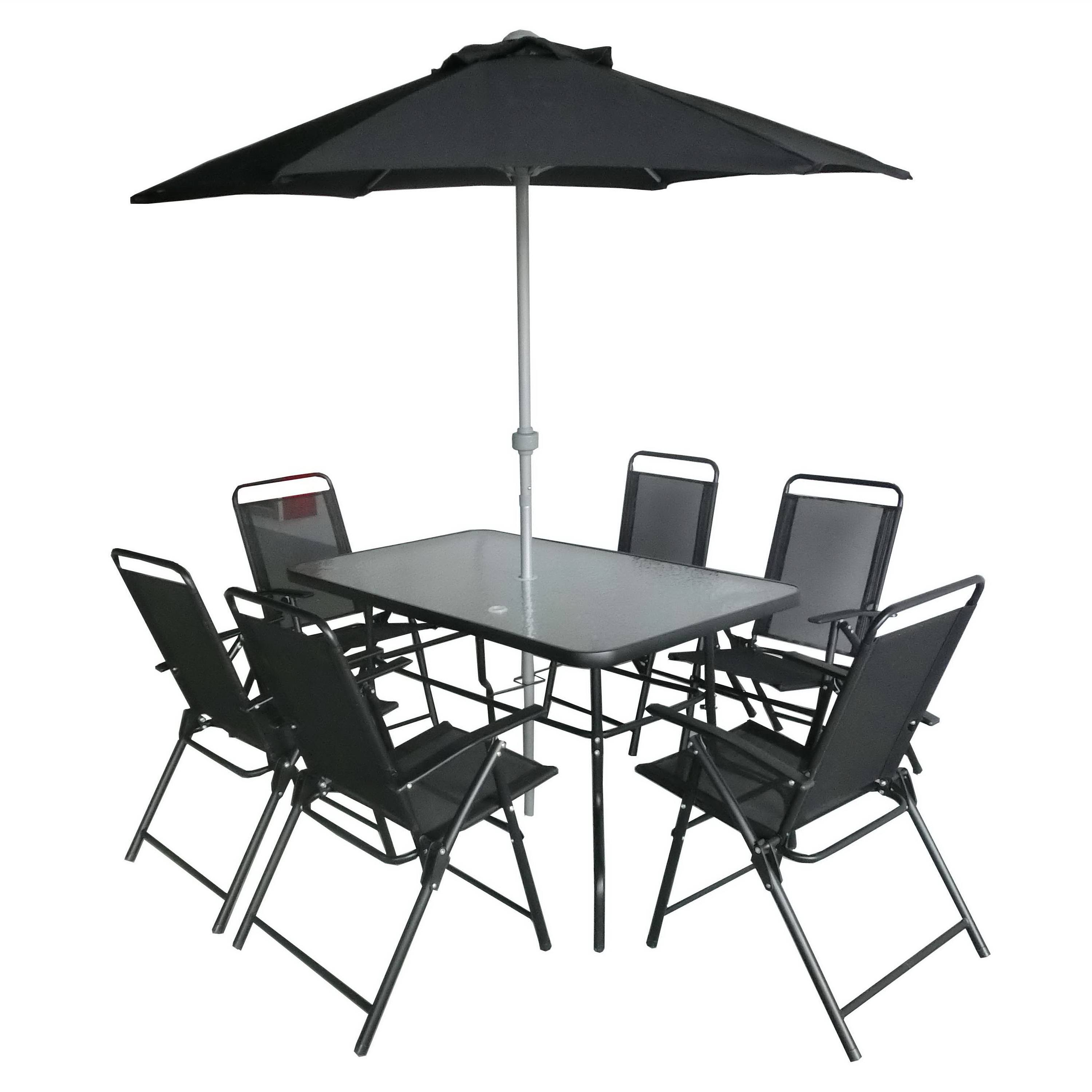 6 seats folding steel outdoor garden furniture patio dining table and chair set with umbrella