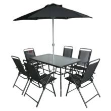 6 seat teslin folding steel outdoor garden patio dining table and chair set